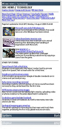 Oversized Screenshot from Web Browser on a Nokia E61i showing news.bbc.co.uk