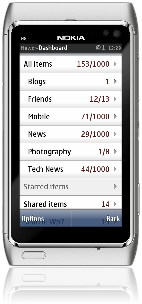 Google Reader Subscriptions in Gravity on the Nokia N8