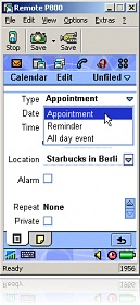 Adding an appointment via Remote P800