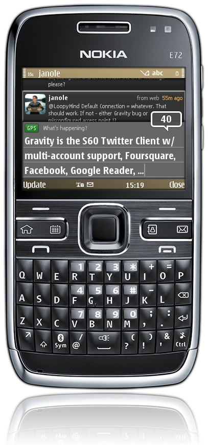 Gravity running on a Nokia E72