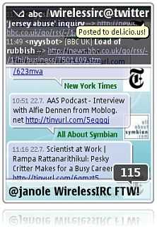 WirelessIRC in full action on a Nokia N95