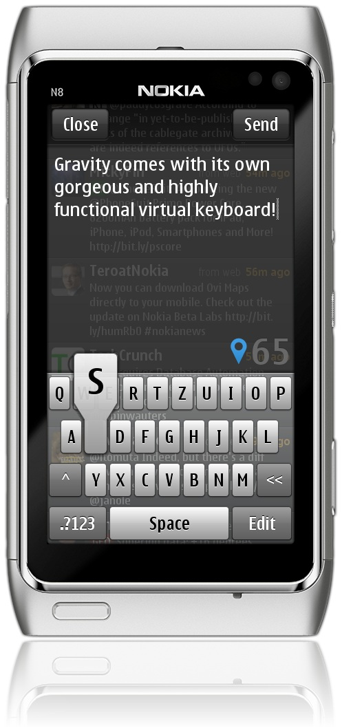 Gravity has its own Portrait Keyboard for Symbian^3